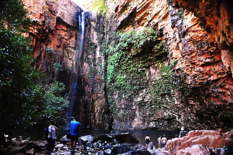 5 At the end of Emma Gorge you are surrounded by 120 m sandstone cliff face walls. Enjoy a refreshing swim beneath the falls. El Questro Station. - Day 5