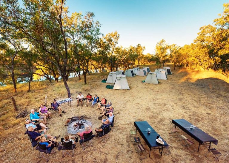 6 Adventure Wild Kimberley Tours do it in style. Permanent tents. Sit at a table to dine. Campfire every night. Exclusive campsite, Fitzroy Crossing - Day 11