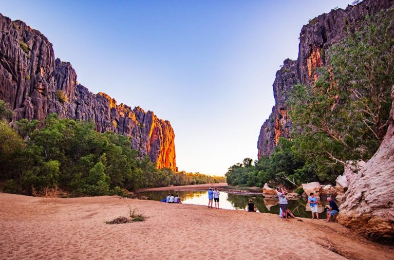 6 Return to Windjana Gorge campsite and into the gorge to watch the sunset against the towering walls of Windjana Gorge